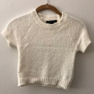 Fuzzy white short sleeve crop top